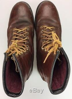 Vintage Made in USA 8 Red Wing Distressed Brown Leather Steel Toe Boots Mens 13