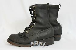 Vintage Pair of Handmade Black Leather Workboots Steel Toe Made in Canada
