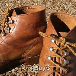 Vintage Red Wing Brown Leather Lace-up Steel Toe Boots Size 9.5