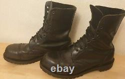 Vintage made in england leather boots 10 hole steel toe army walking goth metal
