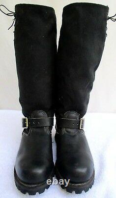 Vtg 60's/ 70's. Engineer. Black. Leather. Knee High. Steel Toe. Boots. M7/ W9