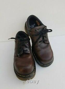 Vtg Dr. Martens Air/wair Men Brown Leather Steel Toe Shoes Made In England Sz 9