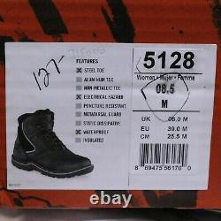 WOMEN'S SIZE 8.5M BLACK STEEL TOE WORK BOOTS WORX by RED WING SHOES 5128 NEW